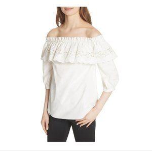 kate spade cutwork off the shoulder top blouse xs